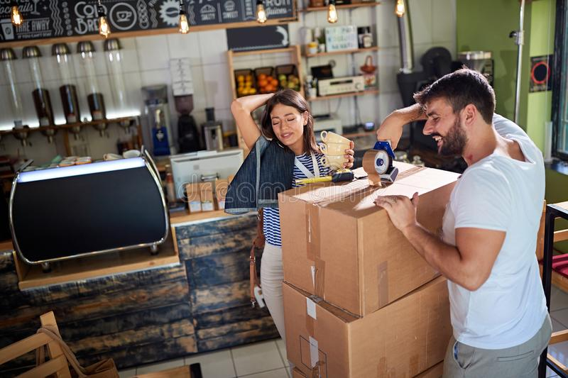 Coffee business concept.couple working to open their cafe store stock photo