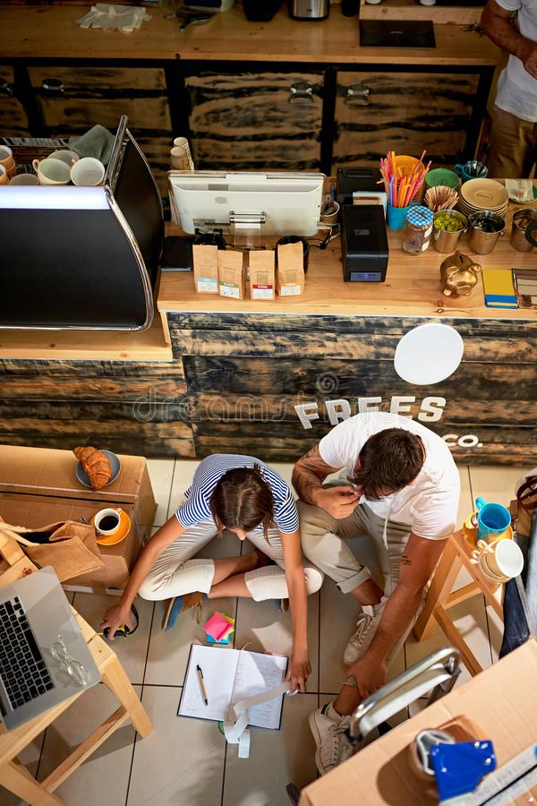 Coffee business concept.business people working together at their cafe store stock photo