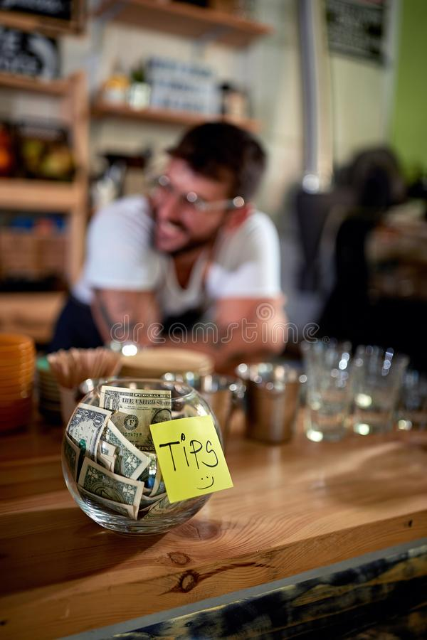 Coffee business - Tips jar royalty free stock photos