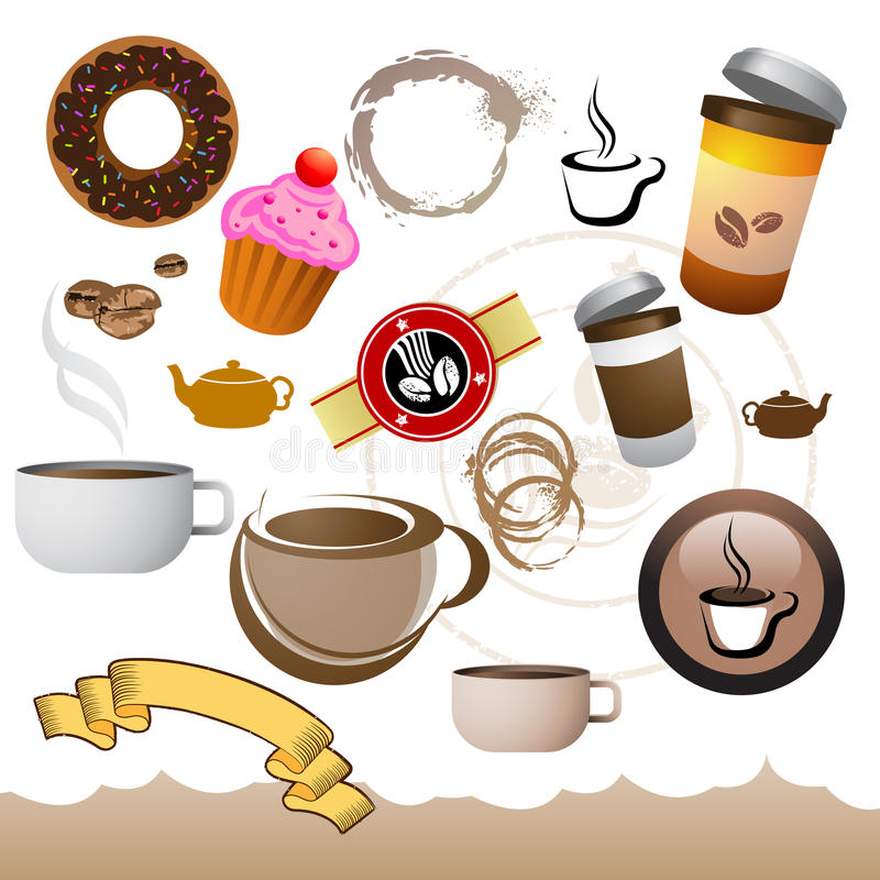 Download Coffee Cafe Elements stock vector. Image of cream, symbol - 15858863
