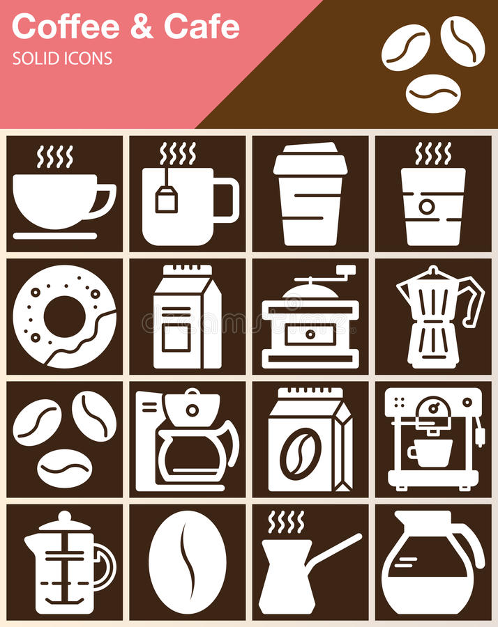 Coffee and Cafe vector icons set, modern solid symbol collection, filled white pictogram pack. vector illustration