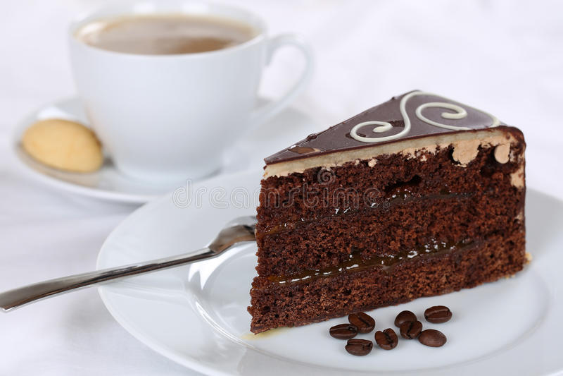 Coffee and cake chocolate tart dessert. Sweet pastry royalty free stock photo