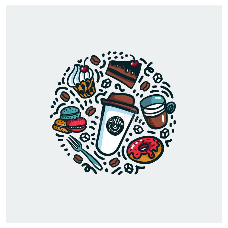 Coffee and cake concept. Colorful doodle style cartoon objects on coffee theme made in circle. Exellent for stock illustration