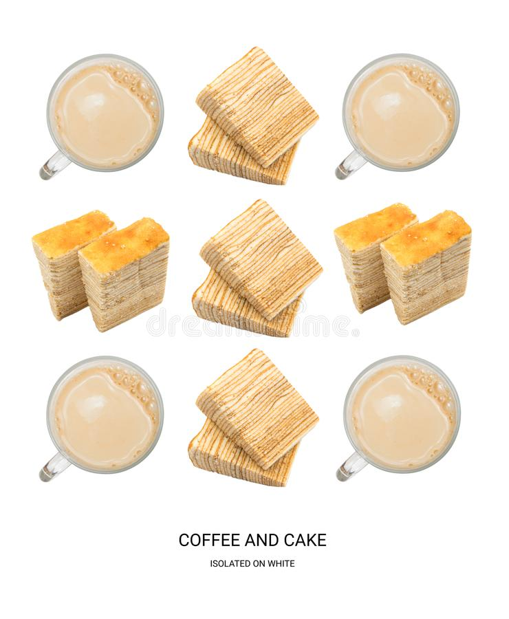 Coffee and Cake Good Morning Pattern. Coffee Cups and Donuts Isolated on White Background Top View. Creative Hot Beverages Layout stock images
