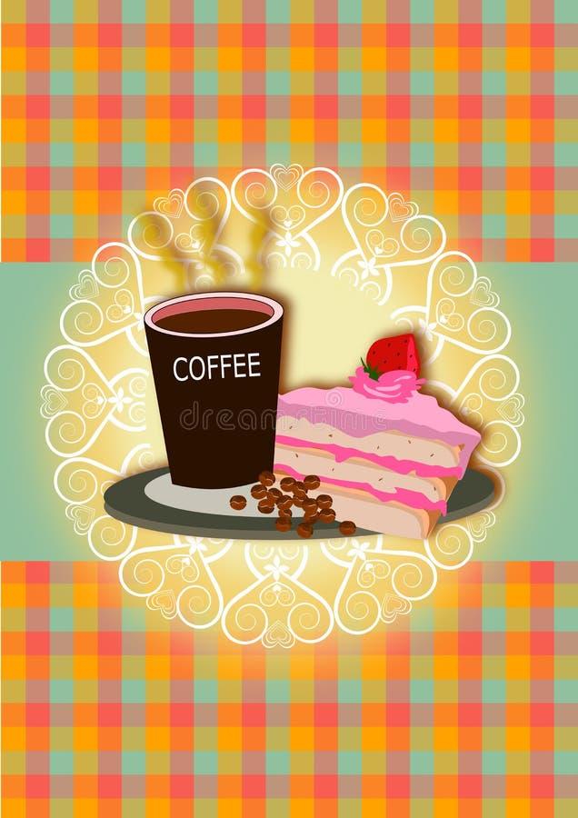 Coffee and cake illustrations stock illustration