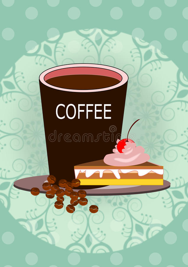 Coffee and cake illustrations vector illustration