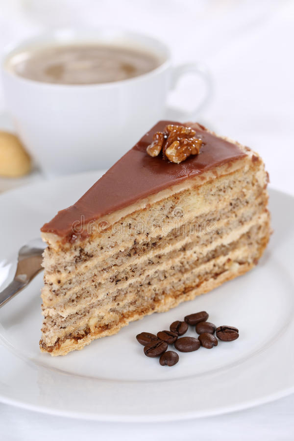 Coffee and cake nut tart dessert food. Coffee and cake tart nut dessert sweet food pastry royalty free stock photography