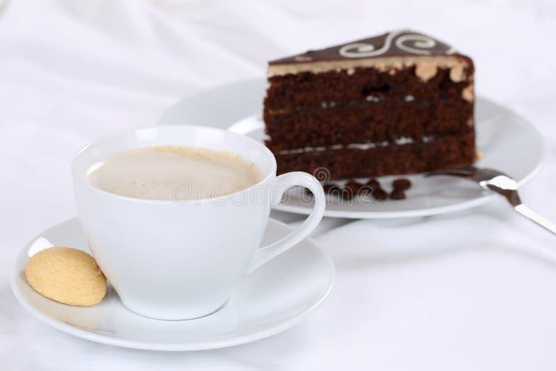 Coffee and cake sweet chocolate tart dessert. Pastry stock photos