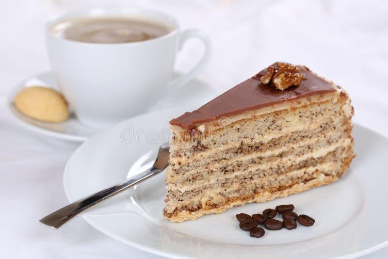 Coffee and cake tart dessert. Sweet pastry stock image