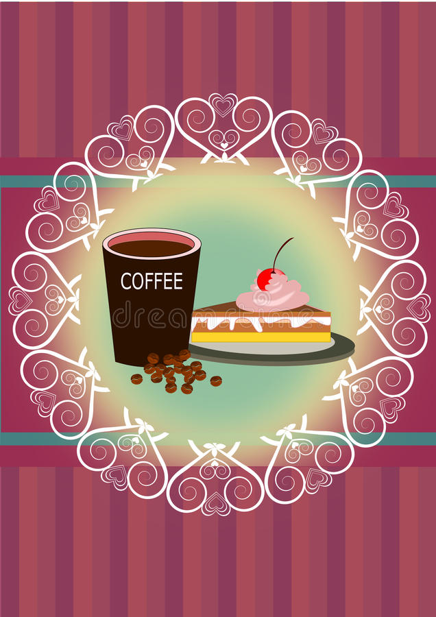 Coffee and cake stock illustration