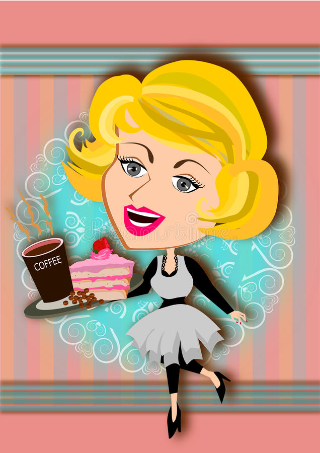 Coffee and cake vector illustration