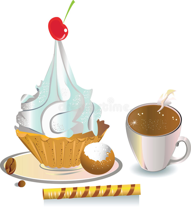 Download Coffee with cakes stock illustration. Image of cookies - 11276003