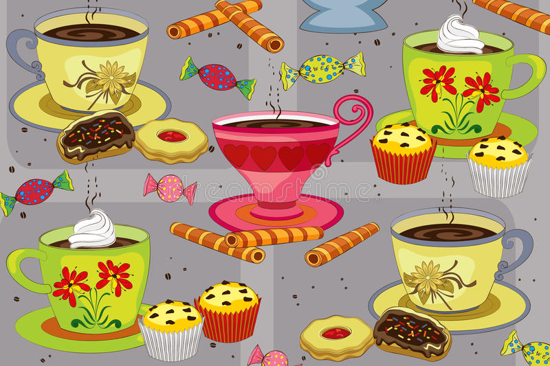 Coffee and cakes stock illustration