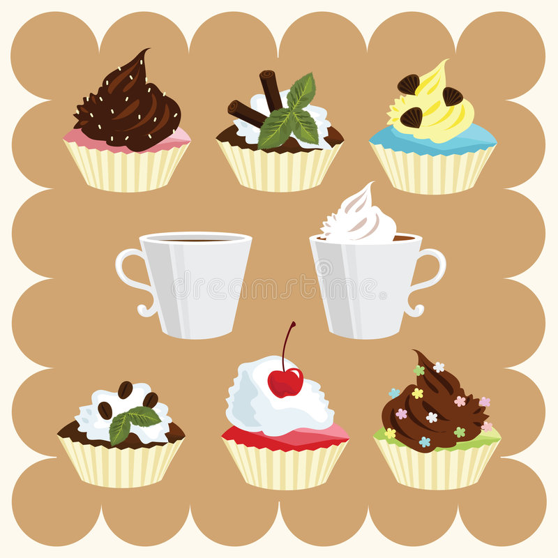 Coffee and Cakes royalty free illustration
