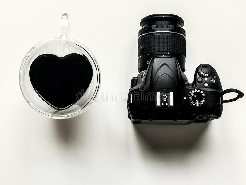 Coffee camera love heart nikon royalty free stock photography
