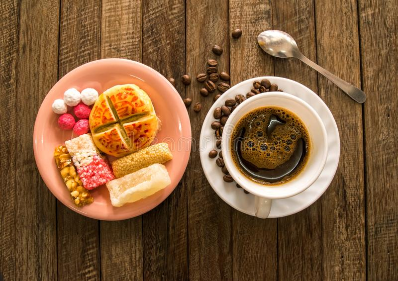 Download Coffee and Candy. stock photo. Image of cafeine, above - 110938176