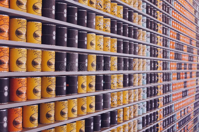Coffee Cans Yellow Black Blue Orange Bokeh Pinewood Social Nashville Tennessee royalty free stock photos
