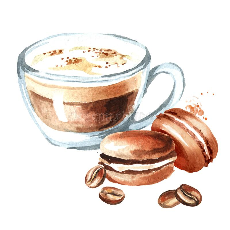 Coffee cappuccino with traditional french Cakes macaroon and coffee beans. Watercolor hand drawn illustration, isolated on white b vector illustration