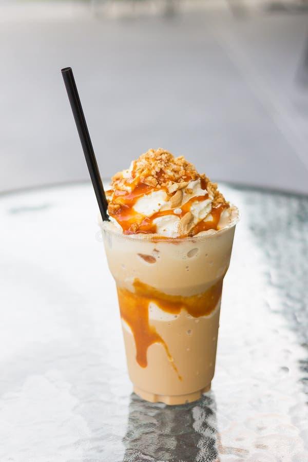Coffee caramel frappe stock photo