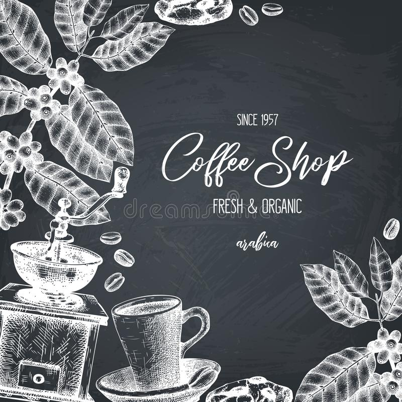 Vector design with ink hand drawn coffee illustrations. Arabica plant with leaves and fruits sketch. Vintage template for cafe or. Shop on chalkboard vector illustration