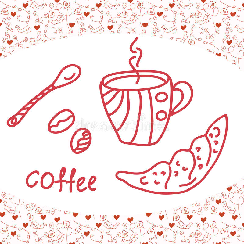 Coffee card. With love background vector illustration