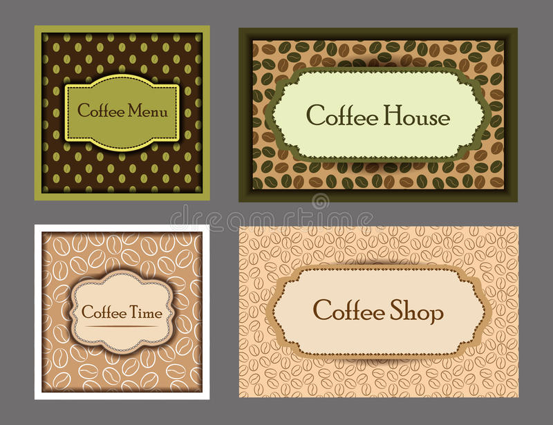Coffee cards collection. stock illustration