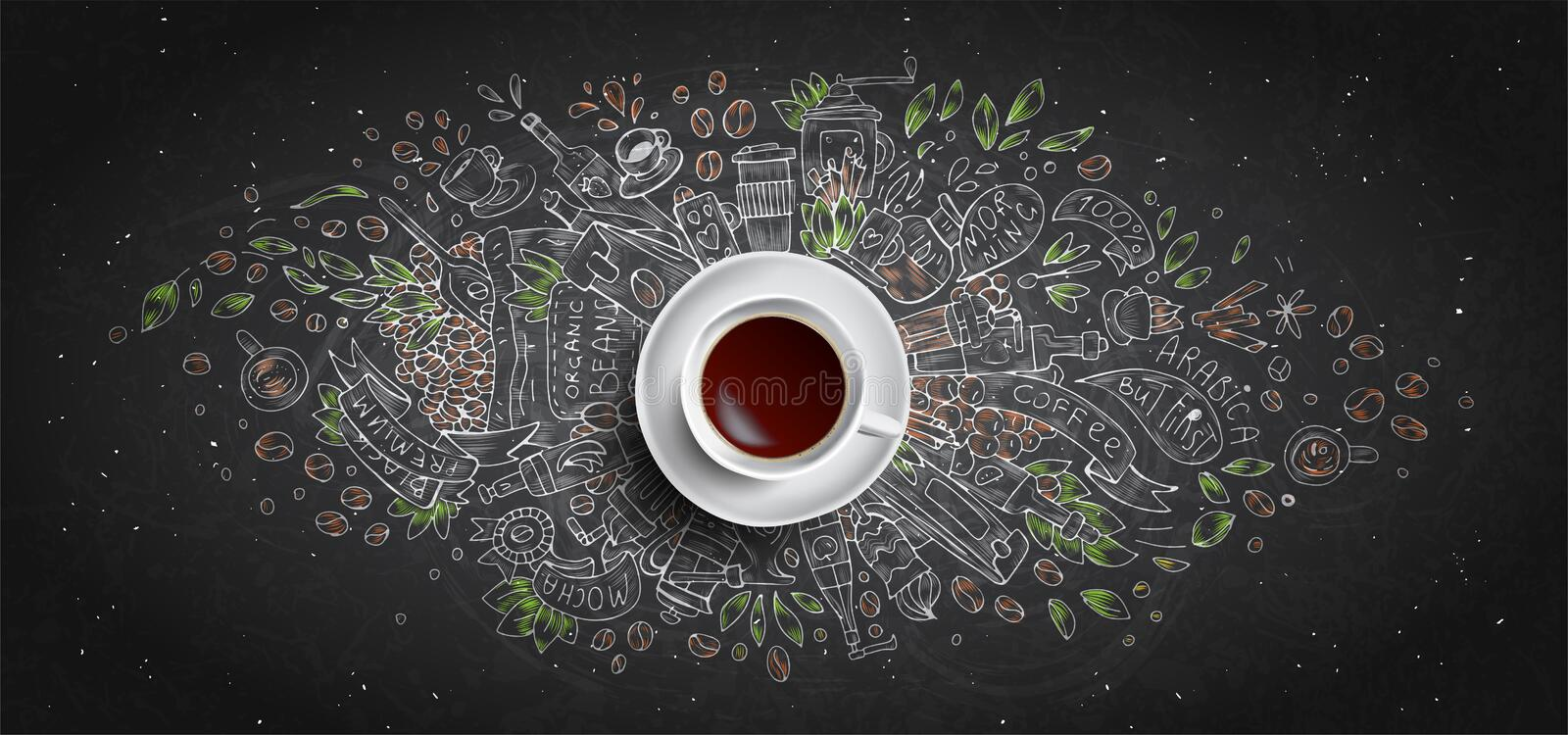 Coffee chalk illustrated concept on black board background - white coffee cup, top view with chalk doodle illustration royalty free illustration