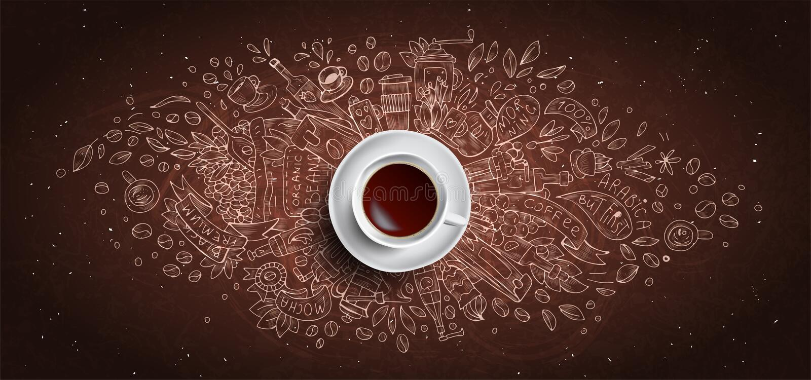 Coffee chalk illustrated concept on black board background - white coffee cup, top view with chalk doodle illustration vector illustration