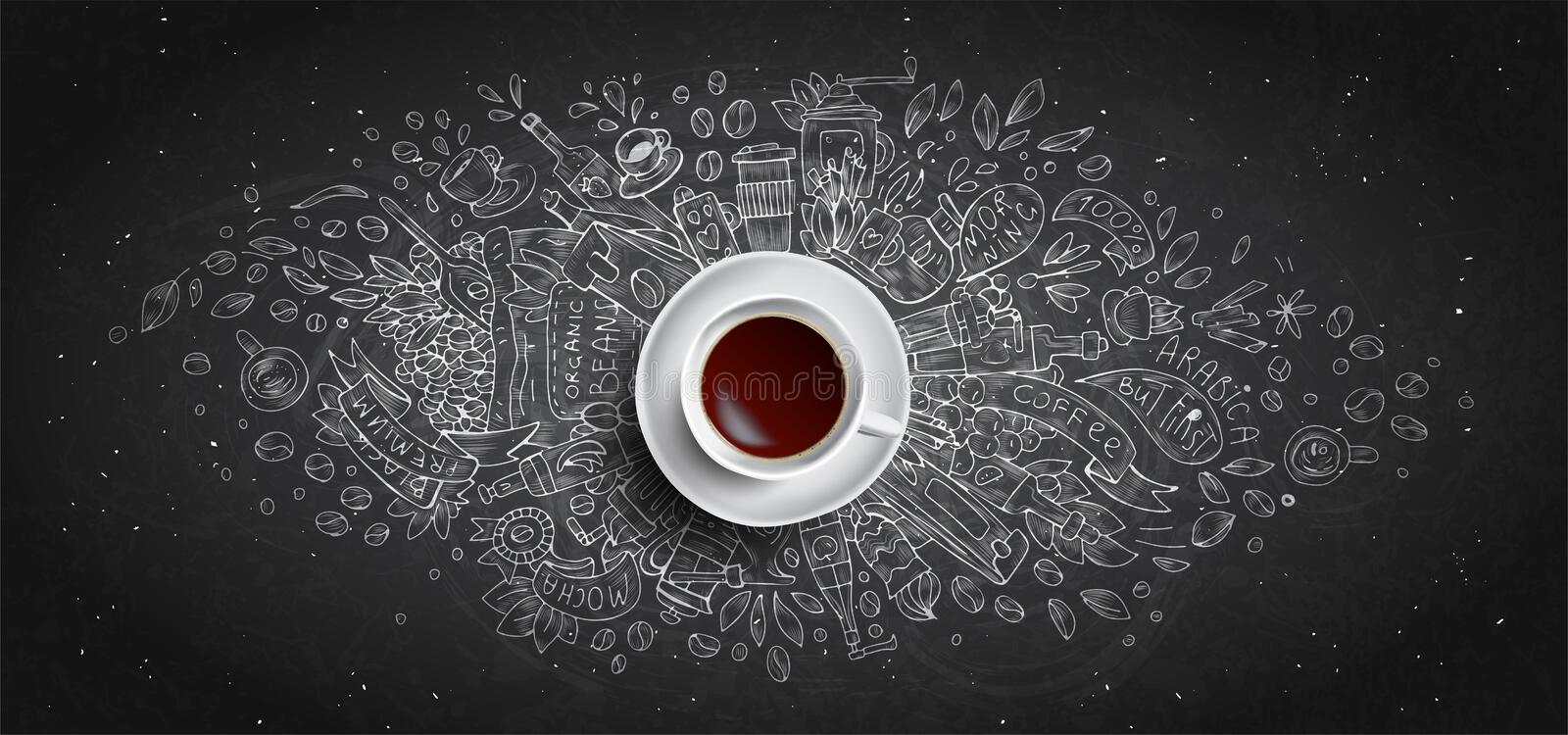 Coffee chalk illustrated concept on black board background - white coffee cup, top view with chalk doodle illustration stock illustration