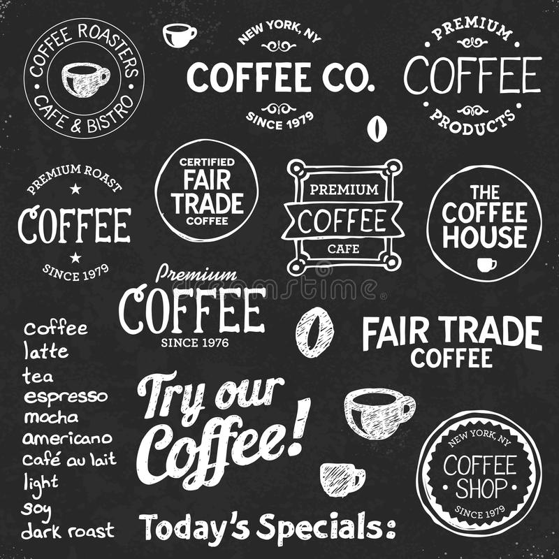 Coffee chalkboard text and symbols royalty free illustration