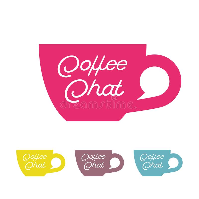 Coffee chat emblem. Coffee logo. Cup with the bubble on a white background. stock illustration
