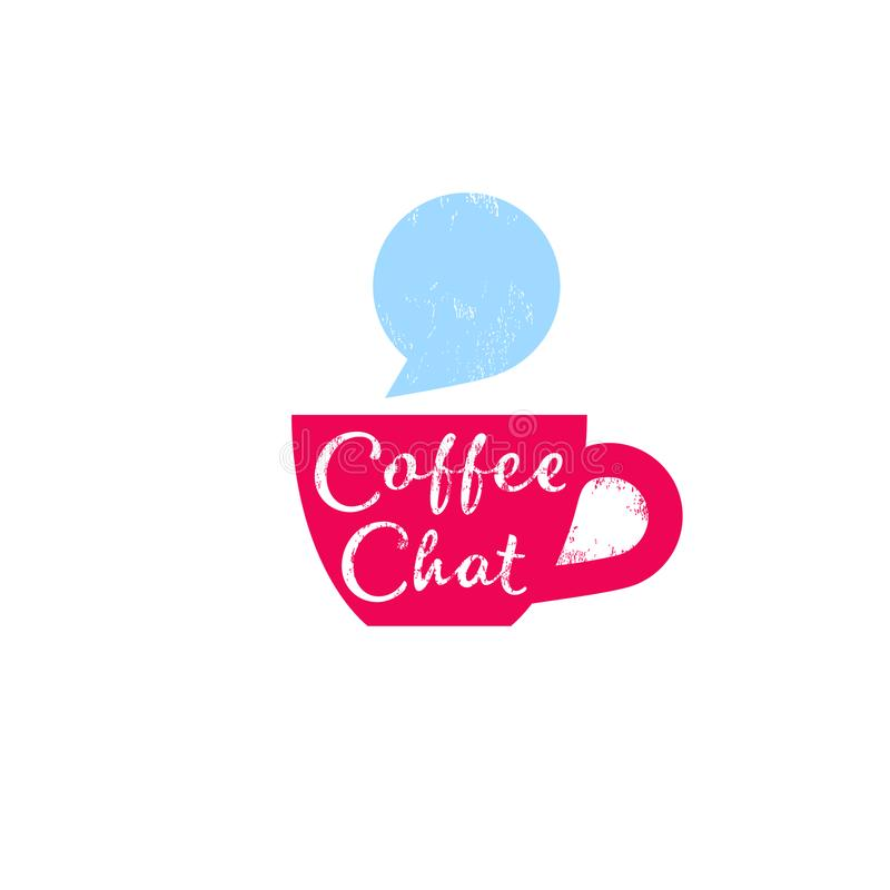 Coffee chat emblem. Morning coffee logo. Chat logo. Vintage cup with bubble. royalty free illustration