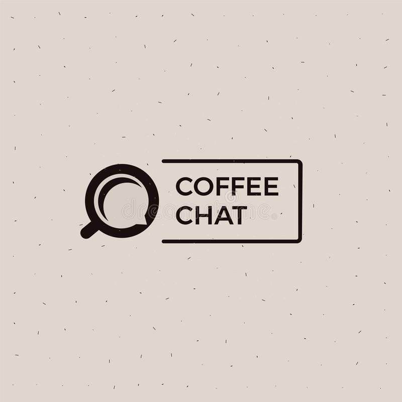 Coffee chat old school logo. Cup with a black energy drink. stock illustration