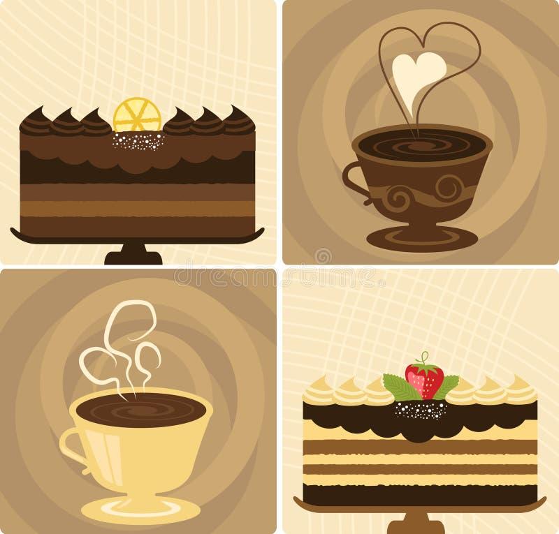 Coffee & Chocolate Cake royalty free stock photos