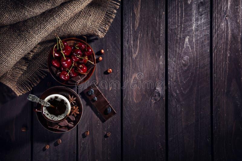 Coffee, chocolate and cherry stock photos