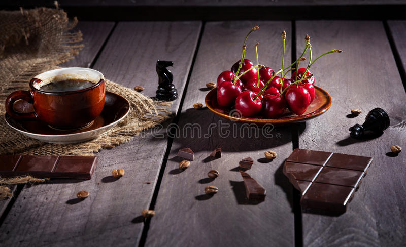 Coffee, chocolate and cherry stock images