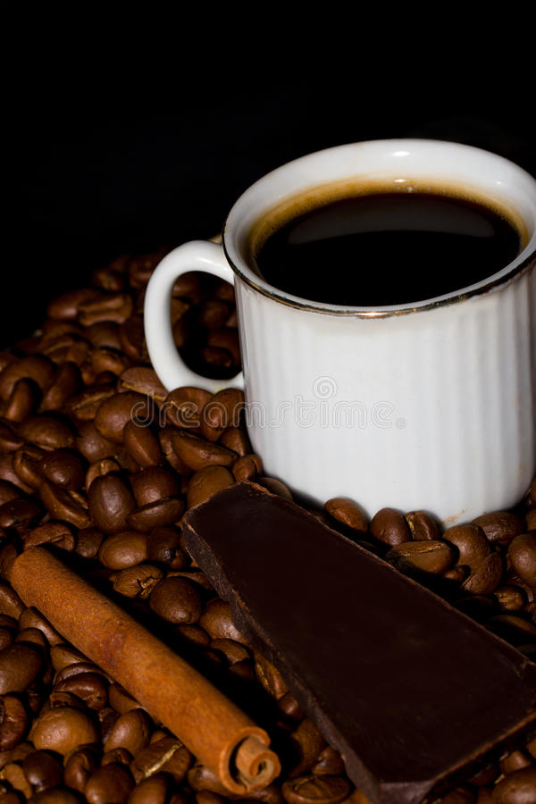 Coffee, Chocolate And Cinnamon. Royalty Free Stock Photos