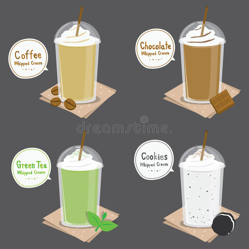 Coffee Chocolate Green Tea Cookie Cream Smoothie Cartoon Vector. Design royalty free illustration