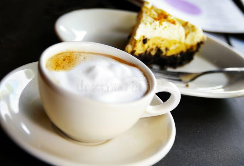 Coffee and chocolate pie stock photos