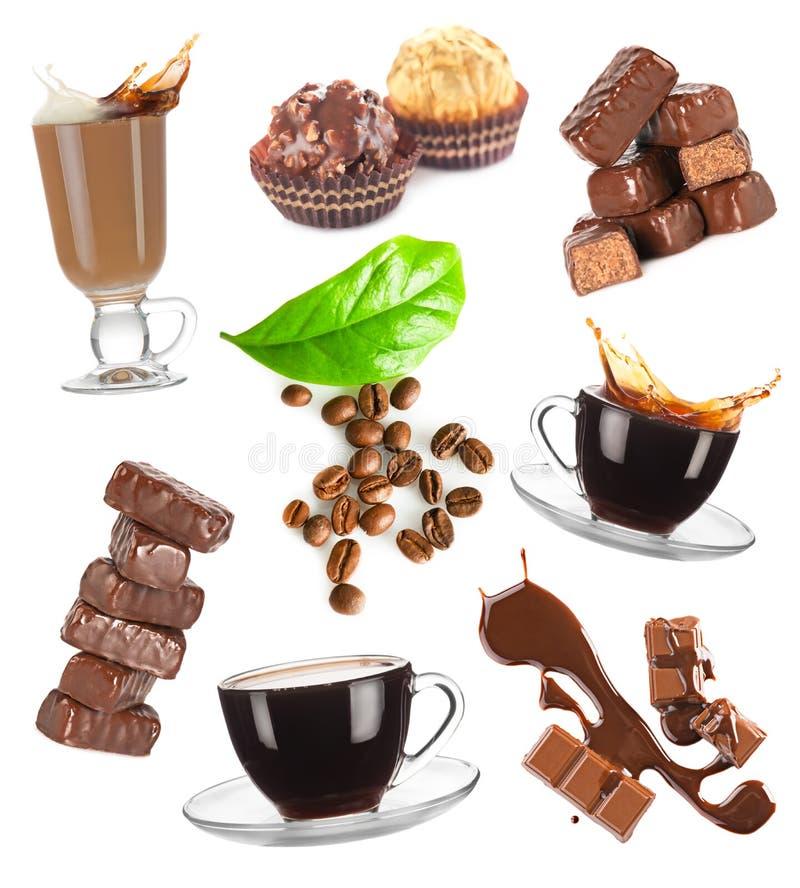 Coffee and chocolate set stock photography