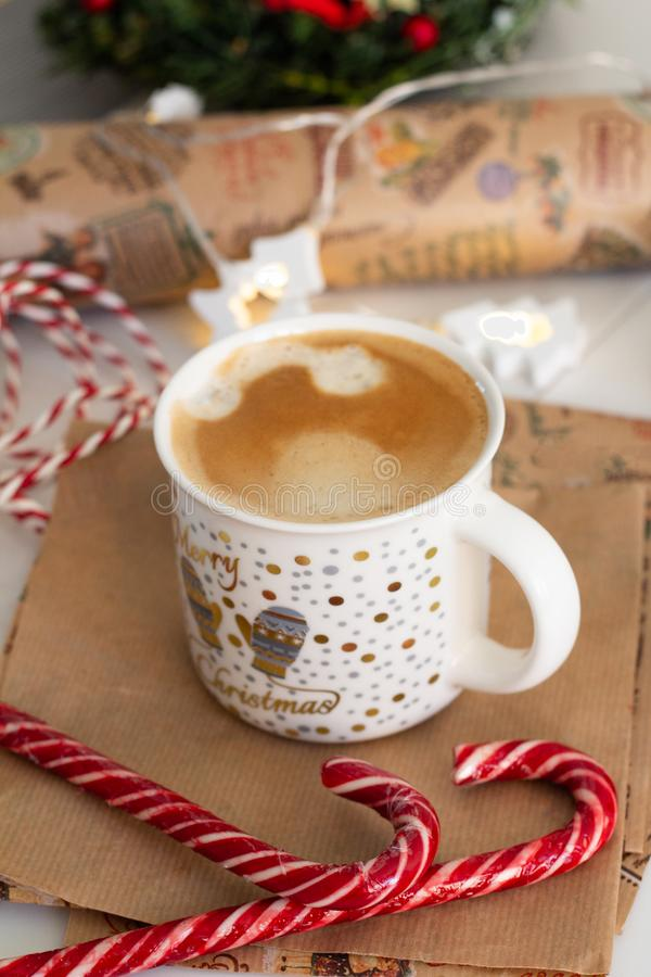 coffee and christmas candy close-up stock photo