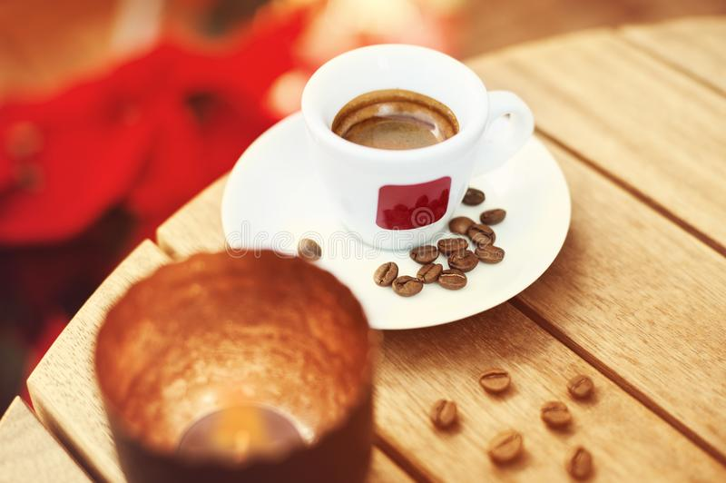 Coffee with Christmas Holiday Decorations stock photo