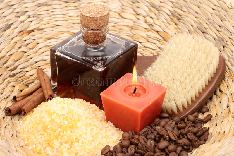 Coffee and cinnamon bath stock photos