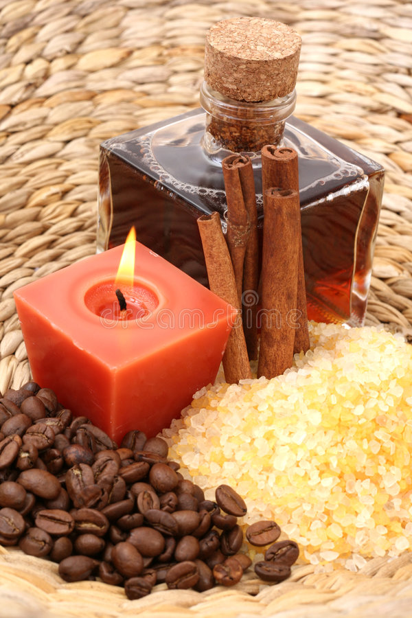 Coffee and cinnamon bath stock images