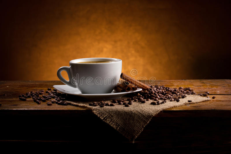 Coffee and cinnamon in retro style royalty free stock photo