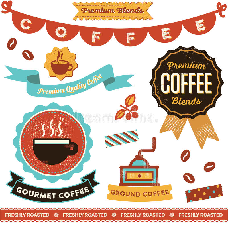 Coffee Clipart. Vintage styled coffee elements. Including badges, emblems, decorative elements and icons vector illustration
