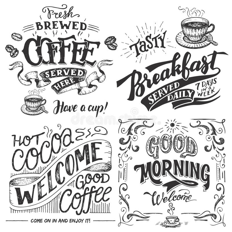 Coffee and cocoa for breakfast hand lettering set royalty free illustration