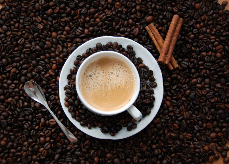 Coffee and coffee beans royalty free stock images