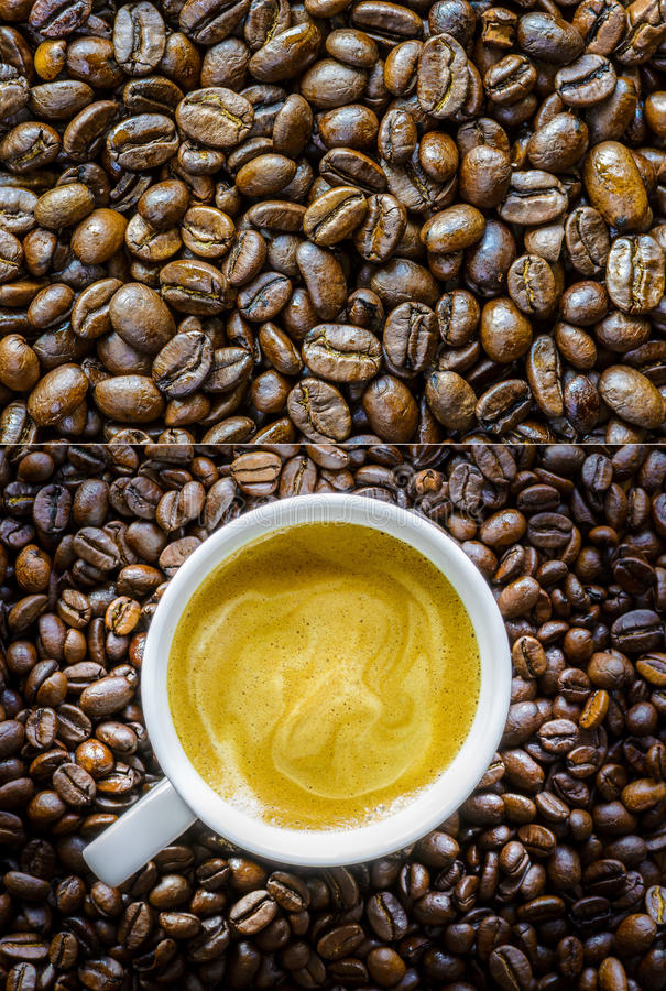 Coffee collage. Four detailed shots of coffee stock photos