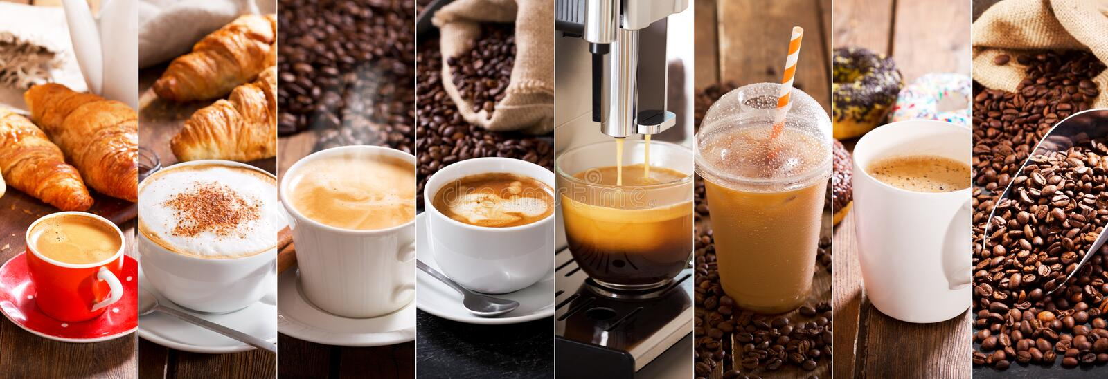 Coffee collage of various cups stock image